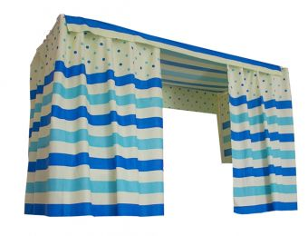 The Bed Curtain Dormitory Shading Cloth Dormitory Decoration BLUE Stripes