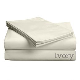 "Luxe Collection 618ct Combed CottonSateen Weave Extra Deep Profile Upto 18"""" Pocket Sheet Sets Cal King Extra Deep Profile Upto 18"""" Ivory"