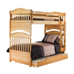 Contemporary Bunk Bed Natural Wood