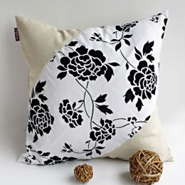 Onitiva - [Floral World] Linen Stylish Patch Work Pillow Cushion Floor Cushion (19.7 by 19.7 inches)
