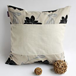 Onitiva - [Dream Champagne] Linen Patch Work Pillow Cushion Floor Cushion (19.7 by 19.7 inches)