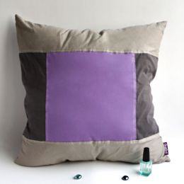 Onitiva [Purple Charm] Knitted Fabric Patch Pillow Cushion Floor Cushion (19.7 by 19.7 inches)