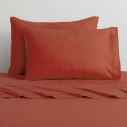 3pc Barn Red Solid Color Bedding Twin-Single Sheet Set