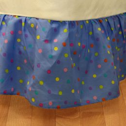 Multicolored Polka Dots Twin Bedskirt Blue Bedding Accessory