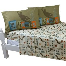X Games Full Bed Sheet Set Extreme Sports Graphix Bedding