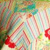 [Springtime Hills] Cotton 3PC Vermicelli-Quilted Floral Patchwork Quilt Set (Full/Queen Size)