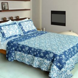 [Blue River] Cotton 3PC Vermicelli-Quilted Printed Quilt Set (Full/Queen Size)