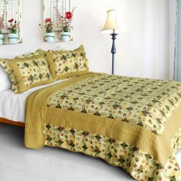 [Autumn in Countryside] Cotton 3PC Vermicelli-Quilted Printed Quilt Set (Full/Queen Size)