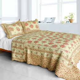 [Foliflora] Cotton 3PC Vermicelli-Quilted Printed Quilt Set (Full/Queen Size)