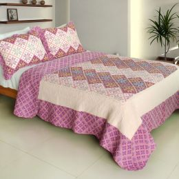 [Lucky Ring] Cotton 3PC Vermicelli-Quilted Printed Quilt Set (Full/Queen Size)