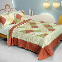 [Fragrant Fields] Cotton 3PC Vermicelli-Quilted Printed Quilt Set (Full/Queen Size)