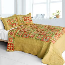 [Twilight Time] Cotton 3PC Vermicelli-Quilted Printed Quilt Set (Full/Queen Size)