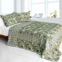 [Noble Garden] Cotton 3PC Vermicelli-Quilted Printed Quilt Set (Full/Queen Size)